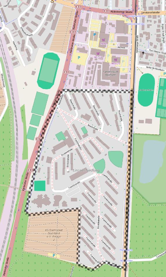 Lincolnsiedlung in Darmstadt Bessungen-Süd. Quelle: OpenStreetMap