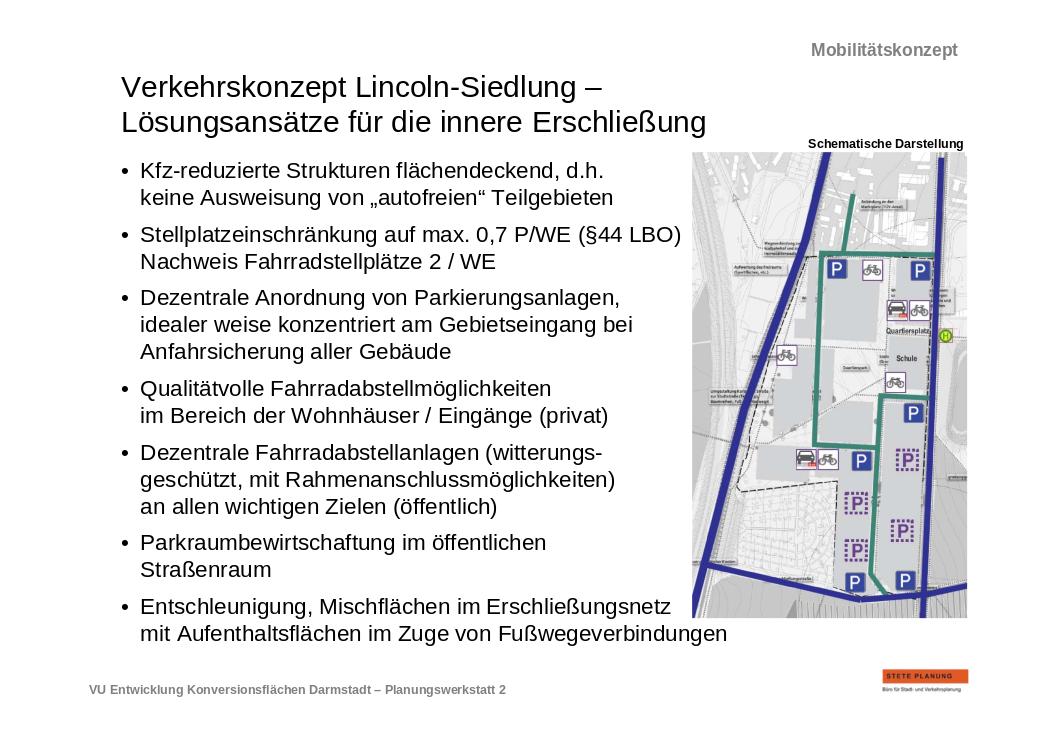Auszug aus dem Mobilitätskonzept zur Lincolnsiedlung. Quelle: Stete Planung