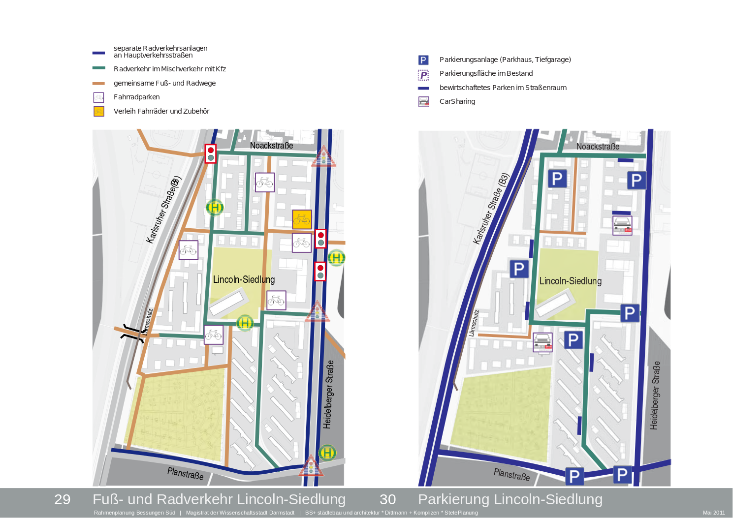 Mobilitätskonzept Lincolnsiedlung. Auszug aus dem Rahmenplan. Quelle: Stadt Darmstadt