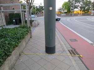 Masten mit 40 cm Durchmesser, wie sie auch in der Rheinstraße geplant sind.