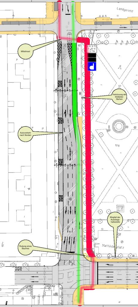 Rot: Vorgesehene zukünftige Radwegführung am Mathildenplatz. Grün: von Werner Krone vorgeschlagene Radwegeführung. Quelle: https://darmstadt.ui-traffic.de/faces/TrafficData.xhtml Bearbeitung: M. Huth