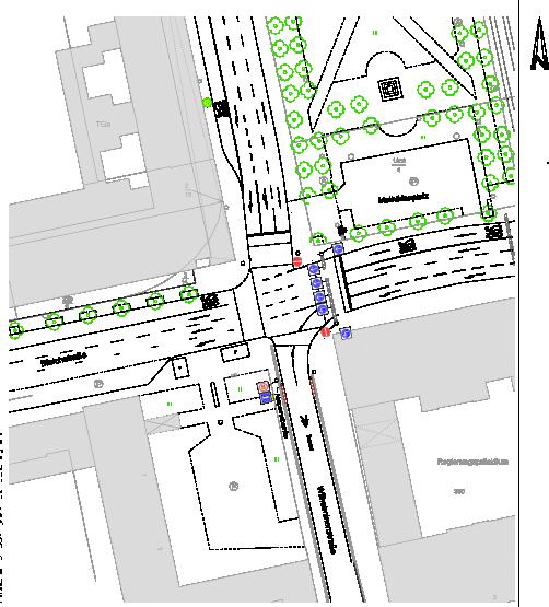 Derzeitige Verkehrsführung Cityring-Mathildenplatz. Quelle: https://darmstadt.ui-traffic.de/, Bearbeitung: Martin Huth.