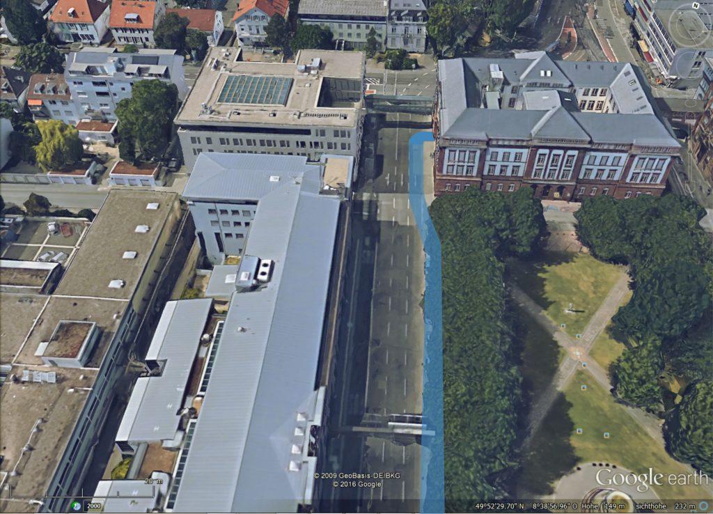Blick nach Norden. Vorgeschlagene Radwegeführung am Mathildenplatz.