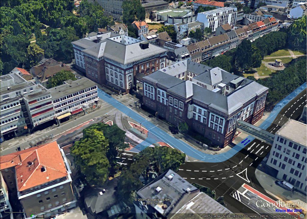 Blick nach Südosten. Vorgeschlagene Radwegeführung am Mathildenplatz.